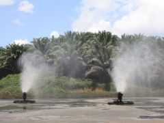Floating evaporators minimize environmental impact where spray drift is an issue